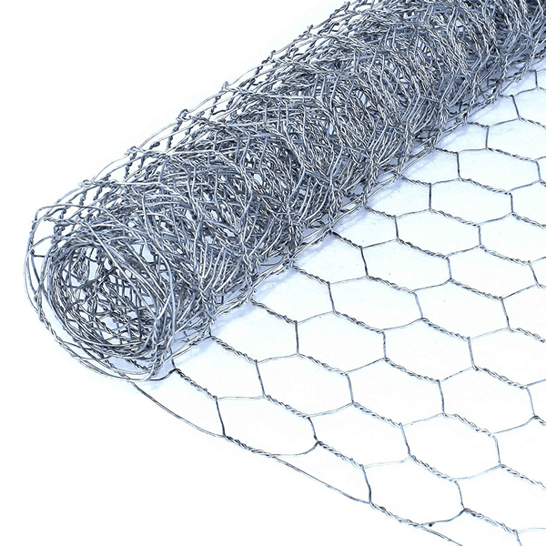 A roll of galvanized poultry netting on white background.