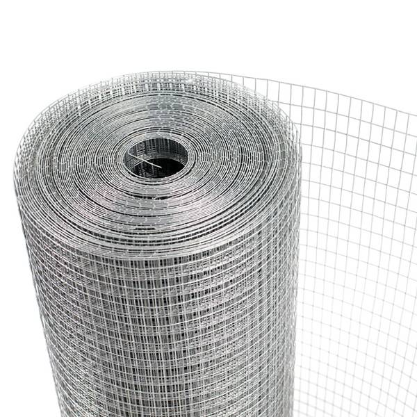 A roll of galvanized square mesh crab trap wire on white background.