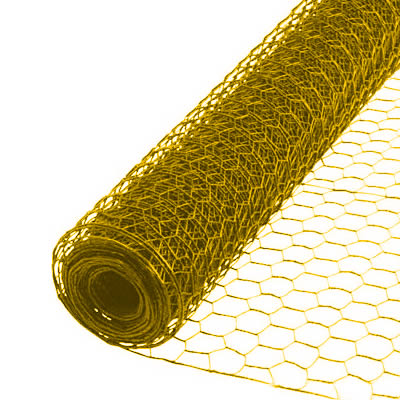 A roll of yellow color hexagonal wire mesh on the white background.
