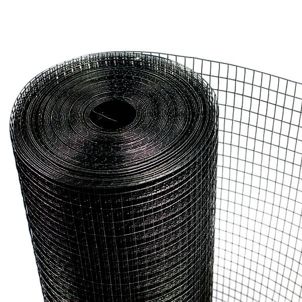 A roll of black PVC coating square mesh crab trap wire on white background.