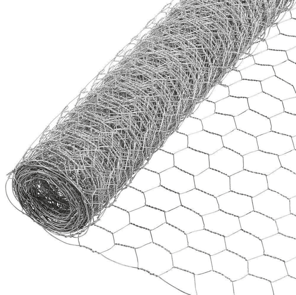 A roll of stainless steel poultry netting on white background.